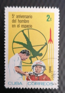 Image #1 of 2 Centavo 1966 - Primul om în spațiul A 5-ea Anniversare - Cosmonauții în antrenament