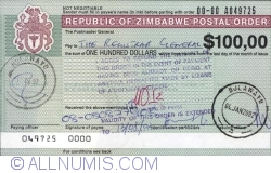 Image #1 of 100 Dollars (issued in Bulawayo at 04.01.2002 - paying in Bulawayo at 12.06.2002)