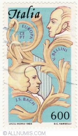 Image #2 of 600 Lire 1985 - Johann Sebastian Bach (1685-1750) and Vincenzo Bellini (1801 -1835)