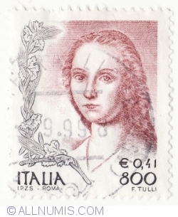 Image #2 of 0,41 Euro - 800 Lire 1999 - Portrait of woman, by Raffaello Sanzio