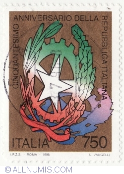 Image #1 of 750 Lire 1996 - Italian Republic, 50th Anniv.
