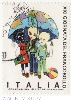 Image #2 of 120 Lire 1979 - Children of various races under umbrella map