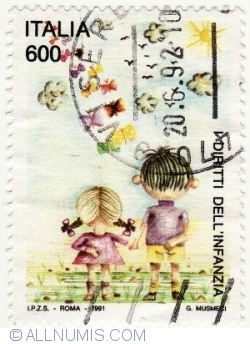 Image #2 of 600 Lire 1991 - Children's Rights