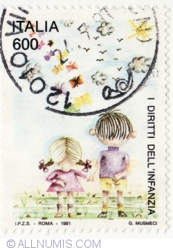 Image #1 of 600 Lire 1991 - Children's Rights