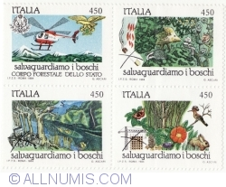 Image #2 of 4 x 450 Lire 1984 - Forest Preservation