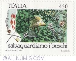 Image #2 of 450 Lire 1984 - Hedgehog, squirrel, badger