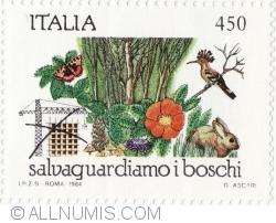Image #1 of 450 Lire 1984 - Plant life, animals