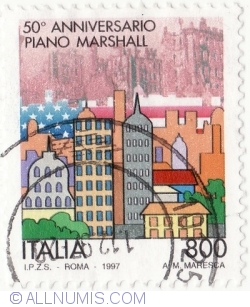 Image #2 of 800 Lire 1997 - Marshall Plan, 50th State Anniv.