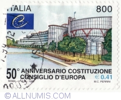 Image #2 of 800 Lire - 0,41 Euro 1999 - Council of Europe, 50th Anniv.
