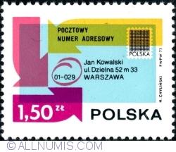 Image #1 of 1,50 Złoty 1973 - Envelope Showing Postal Code