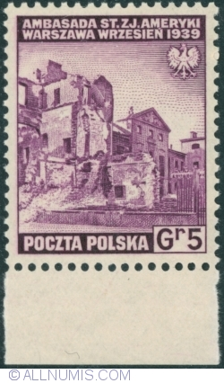 Image #1 of 5 Groszy 1941 - USA Embassy ruins Warsaw 1939
