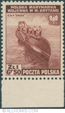 "1 Złoty 50 Groszy 1941 - Polish navy in Great Britain - Submarin ""ORZEŁ"" (""EAGLE"")"