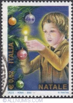 Image #1 of 0,62 € 2002 - Child with candle, Christmas tree,