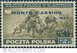 Image #1 of 45 Groszy 1944 on 75 Groszy 1943 (surcharget) - MONTE CASSINO
