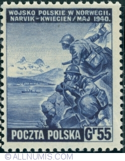 Image #1 of 55 Groszy 1941 - Polish Army in Narvik, Norway 1940