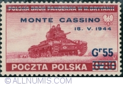 Image #1 of 55 Groszy 1944 on 80 Groszy 1943 (surcharget) - MONTE CASSINO