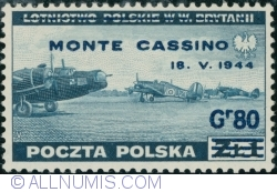 Image #1 of 80 Groszy 1944 on 1 Złoty 1943 (surcharget) - MONTE CASSINO