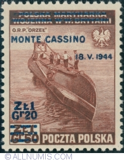 Image #1 of 1 Złoty 1944 on 1 Złoty 50 Groszy 1943 (surcharget) - MONTE CASSINO