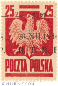Image #2 of 3 Zlote on 25 Groszy 1944 - Polish Eagla (Surcharged) R.T.R.P.