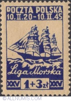 """Image #1 of 1 Zloty + 3 Zlote 1945 - Sailing Vessel """"Dar Pomorza"""""""