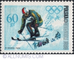 Image #1 of 60 Groszy 1968 - Winter Olympics, Grenoble 1968 - Alpine skiing