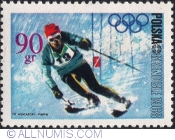 Image #1 of 90 Groszy 1968 - Winter Olympics, Grenoble 1968 - Slalom skiing
