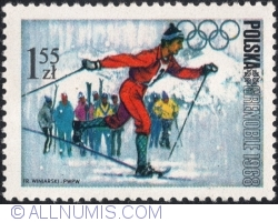 Image #1 of 1,55 Złoty 1968 - Winter Olympics, Grenoble 1968 - Cross-country skiing