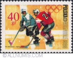 Image #1 of 40 Groszy 1968 - Winter Olympics, Grenoble 1968 - Ice hockey