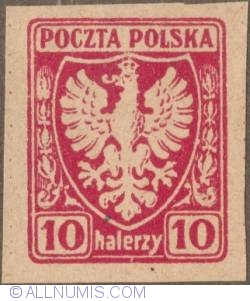 Image #1 of 10 Halerzy 1919 - Eagle - Coat of arms - not perforated