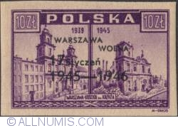 Image #1 of 10 Zlotych 1946 - Holy Cross Church Overprinted in black
