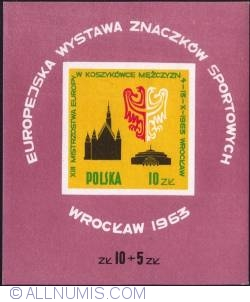 Image #1 of 10+5 złotych - Coat of arms of Wrocław, silhouette of the town hall and the people's hall