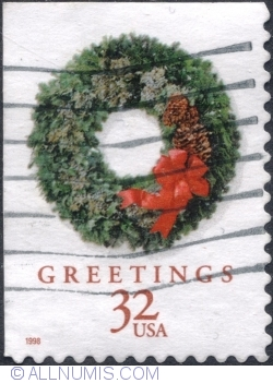 Image #1 of 32 Cents 1998 - Wreath Evergreen