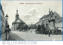 Image #1 of Rastatt - Bernhardusbrunnen and city church (1913)