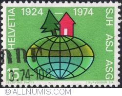 Image #1 of 15 Centimes -  Pine and Cabin on globe 1974