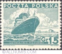 Image #1 of 15 Groszy 1935 - M/S PiłsudskiG - Gdynia