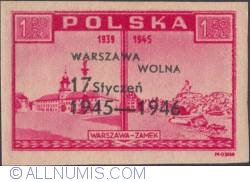Image #1 of 1,50 Zlotey 1946 - Warsaw Castle (overprinted in black)