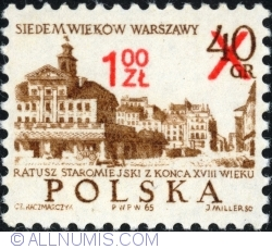 Image #1 of 1 Złoty 1972 on 40 Groszy 1965 - Old Town Hall,18th century. Surcharged