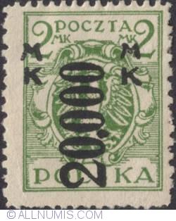 Image #1 of 20 000 Marek on 2 Marki 1924 - Eagle on baroque shield (Surcharged)