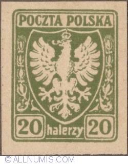 Image #1 of 20 Halerzy 1919 - Eagle - Coat of arms - plain border