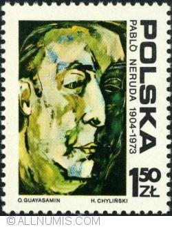 Imaginea #1 a 1,50 Złoty 1974 - Pablo Neruda pictură de Osvaldo Guayasamin