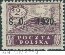 "Image #1 of 2,50 Korony - ""Peace"" owerprint S.O. 1920 (Plebiscite on Cieszyn Silesia)"