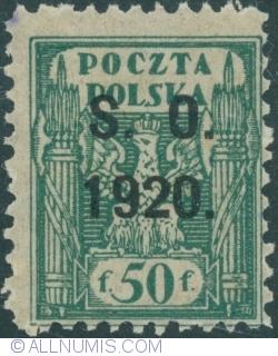 Image #1 of 50 Fenigi - eagle owerprint S.O. 1920 (Plebiscite on Cieszyn Silesia)