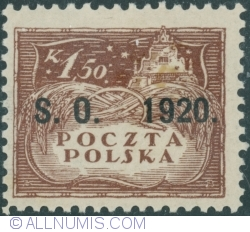Image #1 of 1,50 Korony - Agriculture - Owerprint S.O. 1920 (Plebiscite on Cieszyn Silesia)
