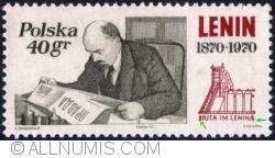 Image #1 of 40 Groszy 1970 - Lenin in his Kremlin Study, Oct. 1918, and Polish Lenin Steel Mill