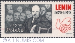 Image #1 of 2,50 Złoty 1970 - Lenin with delegates during a conference at the Kremlin (1921); dove and globe