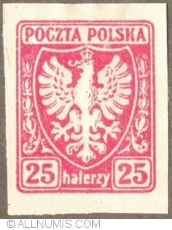 Image #1 of 25 Halerzy 1919 - Eagle - Coat of arms - plain border