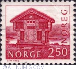 Imaginea #1 a 2,50 Kroner 1983 - Log house, Breiland