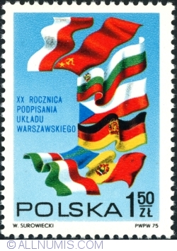 1,50 Złoty 1975 - Warsaw Treaty Members' Flags