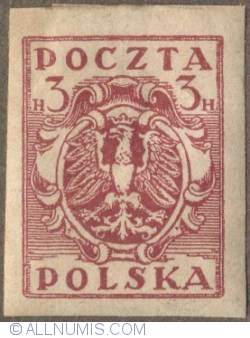 Image #1 of 3 Halerze 1919 - Eagle - Coat of arms - plain border - Red