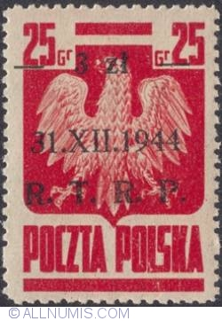 Image #1 of 3 Zlote on 25 Groszy 1944 - Polish Eagla (Surcharged) R.T.R.P.